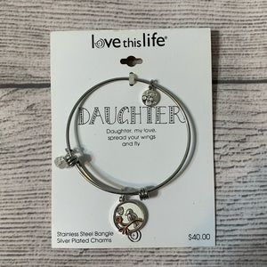 Love this life. daughter bangle bracelet w/charms